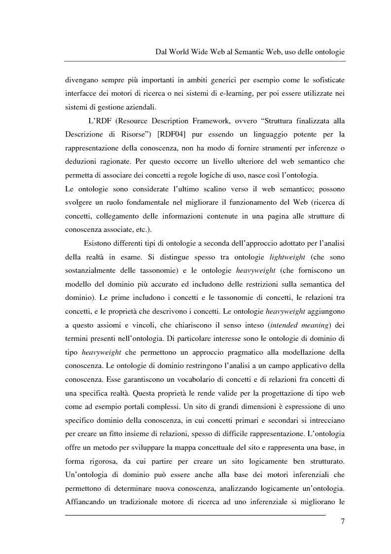 Anteprima della tesi: Progettazione e relizzazione di un'applicazione semantica per il controllo e la gestione di informazioni turistiche: l'aspetto delle ontologie., Pagina 7
