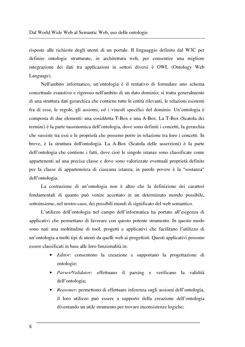 Anteprima della tesi: Progettazione e relizzazione di un'applicazione semantica per il controllo e la gestione di informazioni turistiche: l'aspetto delle ontologie., Pagina 8
