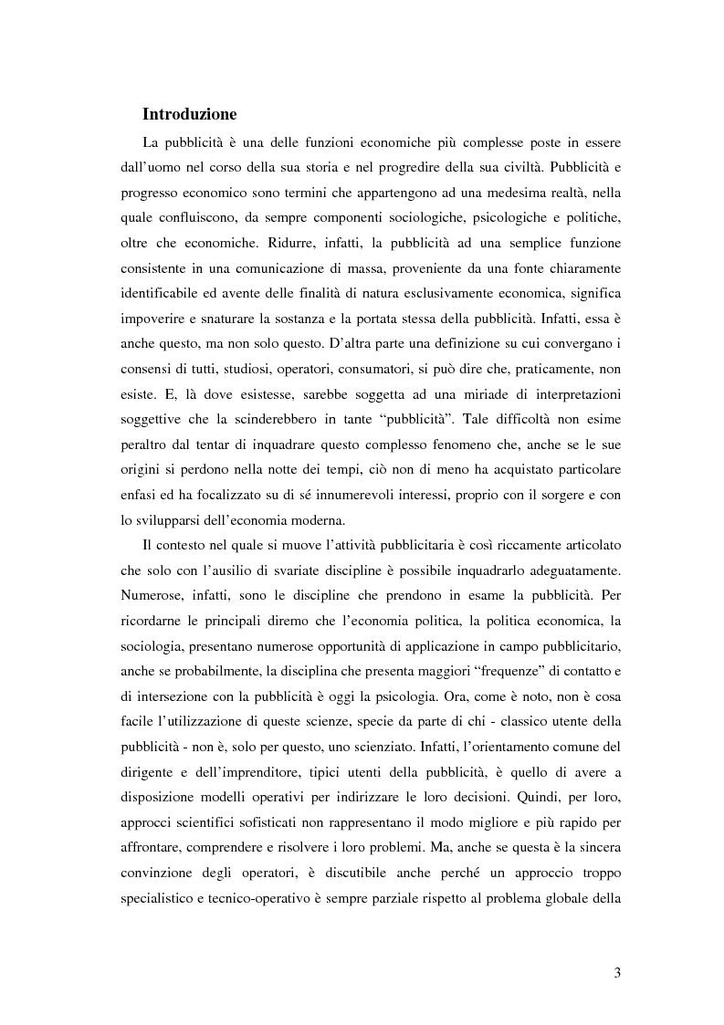 Anteprima della tesi: Evoluzione della comunicazione pubblicitaria ed influenza delle psicologie, Pagina 1