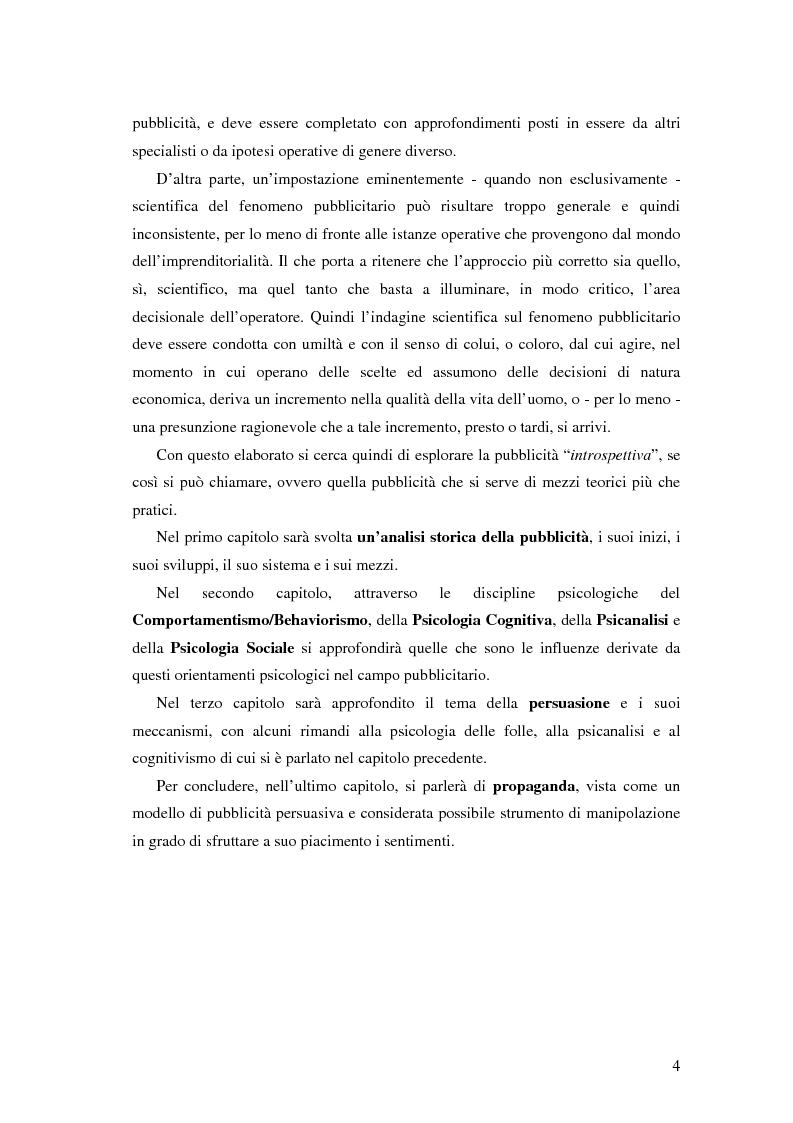 Anteprima della tesi: Evoluzione della comunicazione pubblicitaria ed influenza delle psicologie, Pagina 2