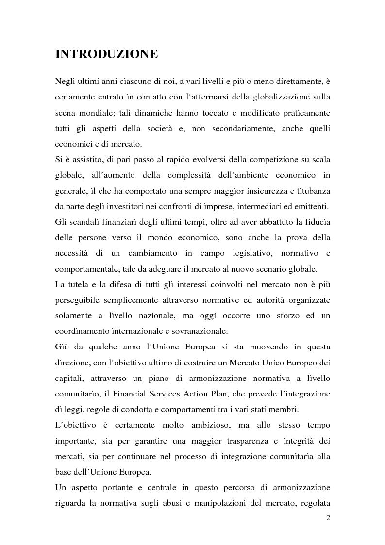 Anteprima della tesi: L'azione europea per la tutela del mercato dei capitali nella direttiva Market Abuse. Riflessi su imprese, investitori e regolatori, Pagina 1