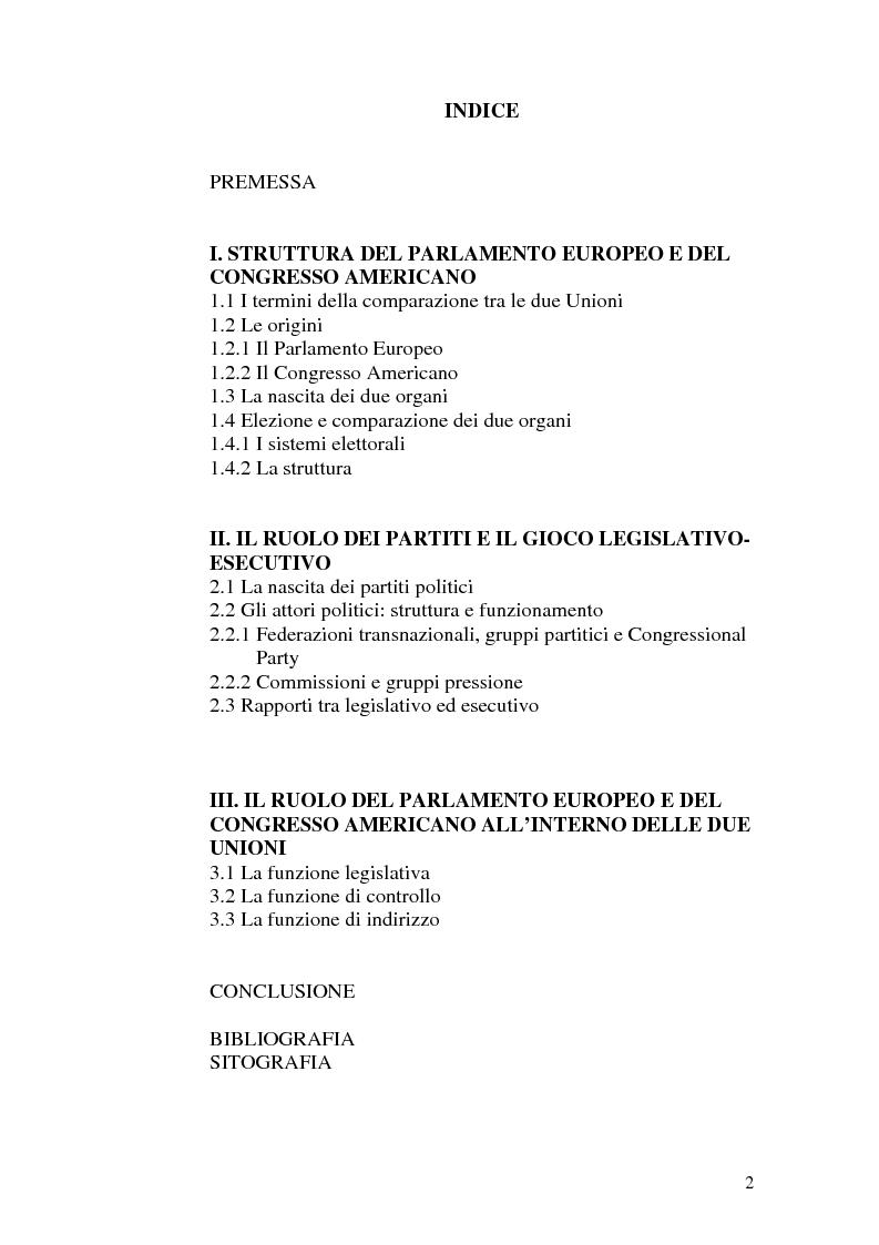 Indice della tesi: Il Parlamento: una comparazione tra il sistema statunitense e l'Unione Europea, Pagina 1