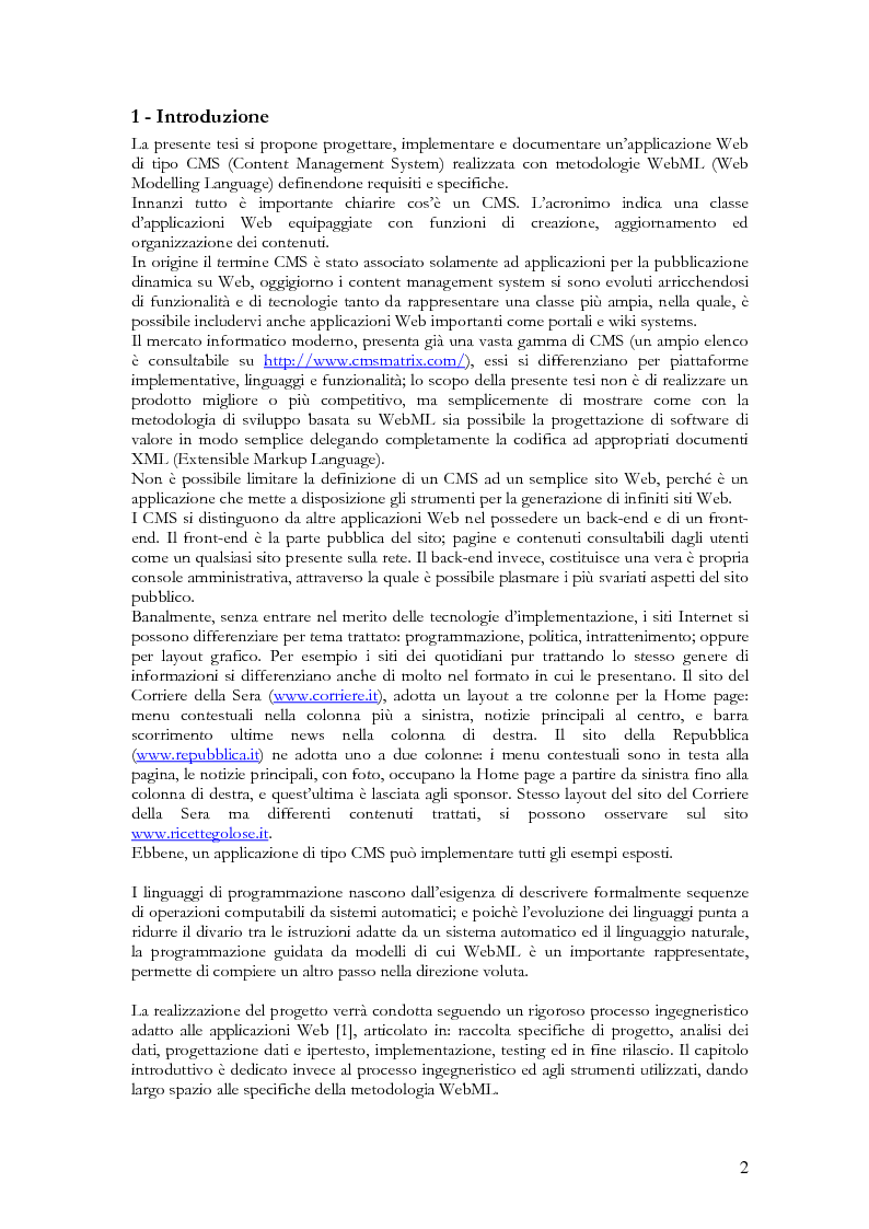 Progettazione e Realizzazione CMS Con Metodologia WEBML - Tesi di Laurea