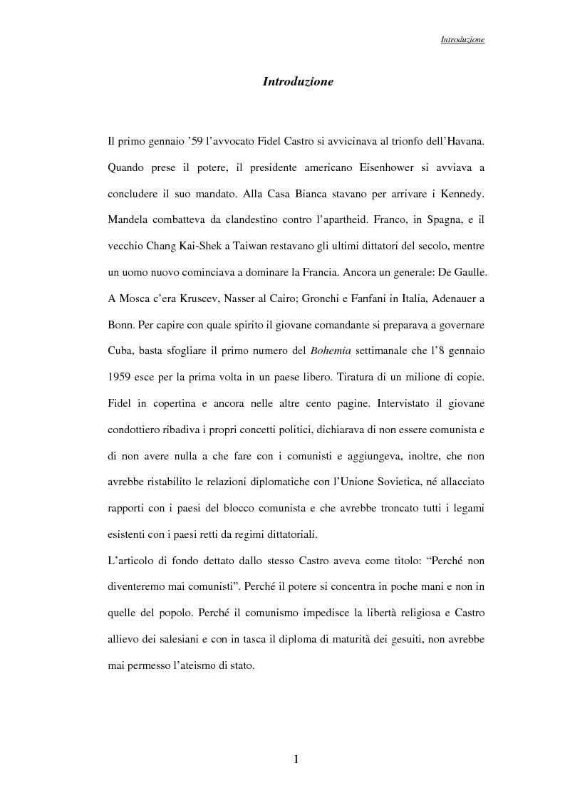 Anteprima della tesi: La rivoluzione Cubana nel Corriere della Sera, Pagina 1
