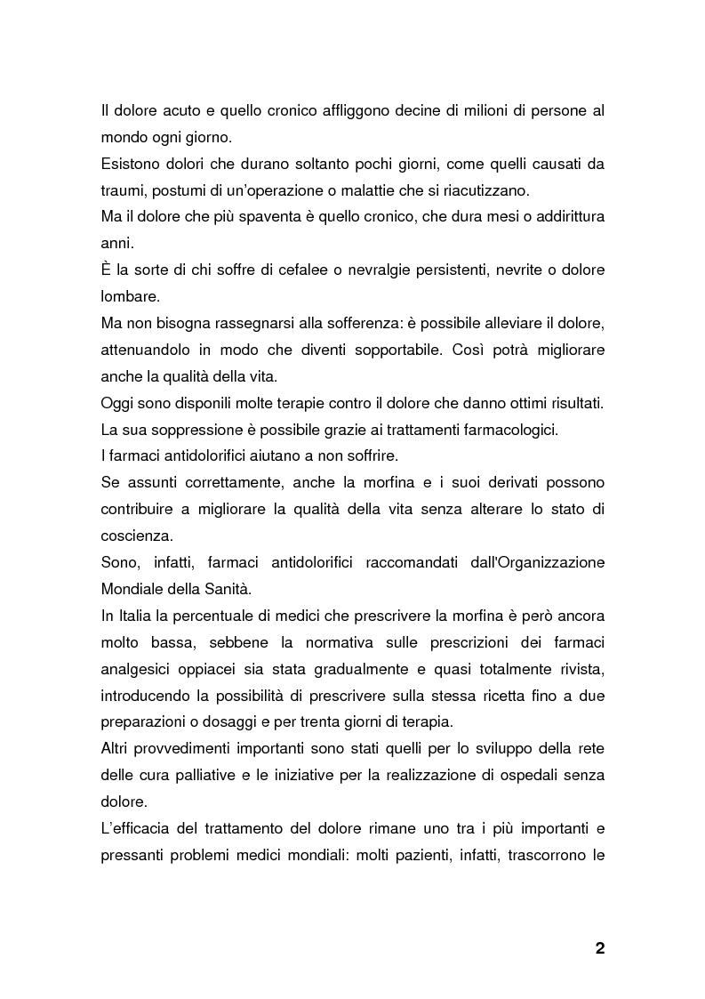 Anteprima della tesi: Dolore: una battaglia ancora da vincere. Curare se non si può guarire., Pagina 2