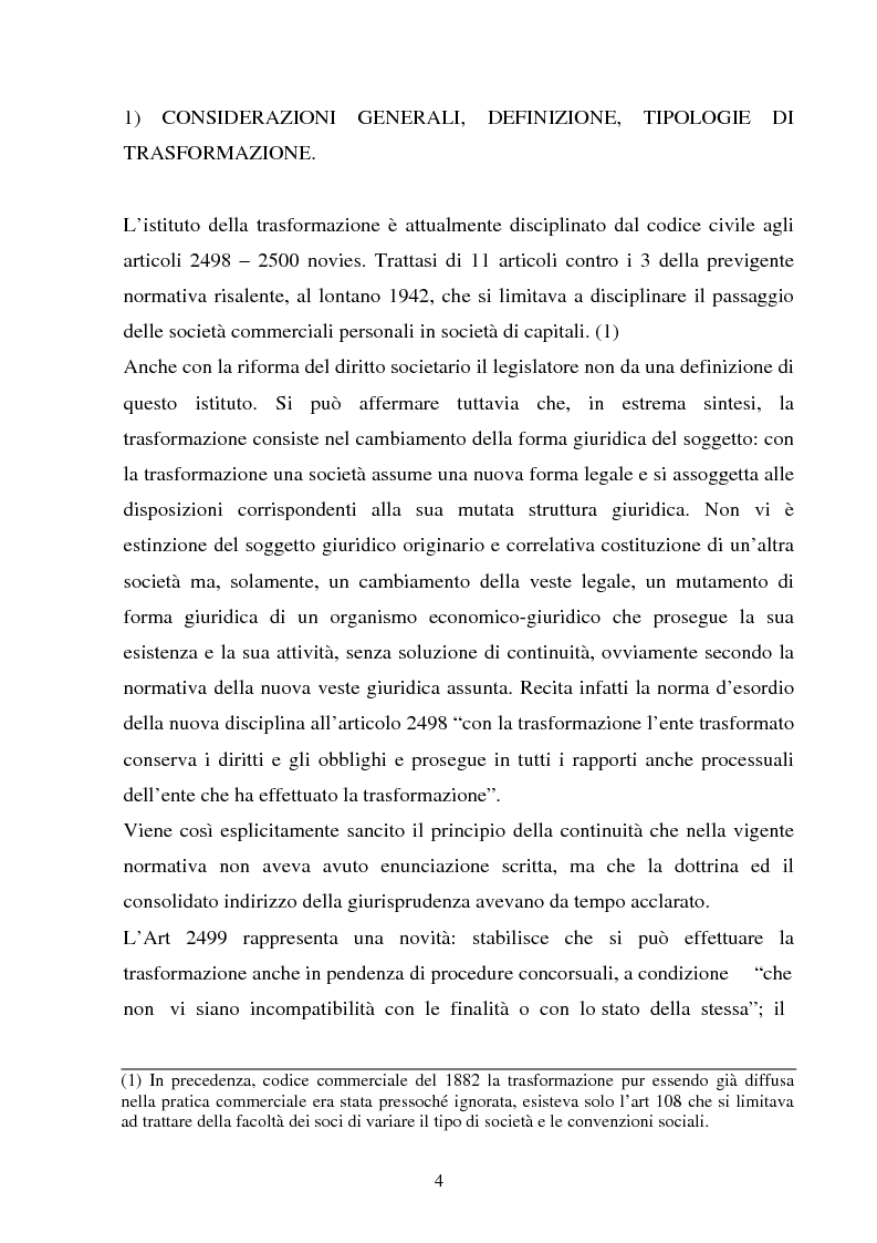 Anteprima della tesi: La perizia di stima relativa alla trasformazione delle società di persone in società di capitali alla luce della normativa introdotta dalla riforma societaria., Pagina 1