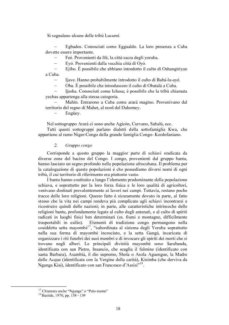 Anteprima della tesi: La santeria. Credenze e pratiche rituali di una religione afrocubana, Pagina 15