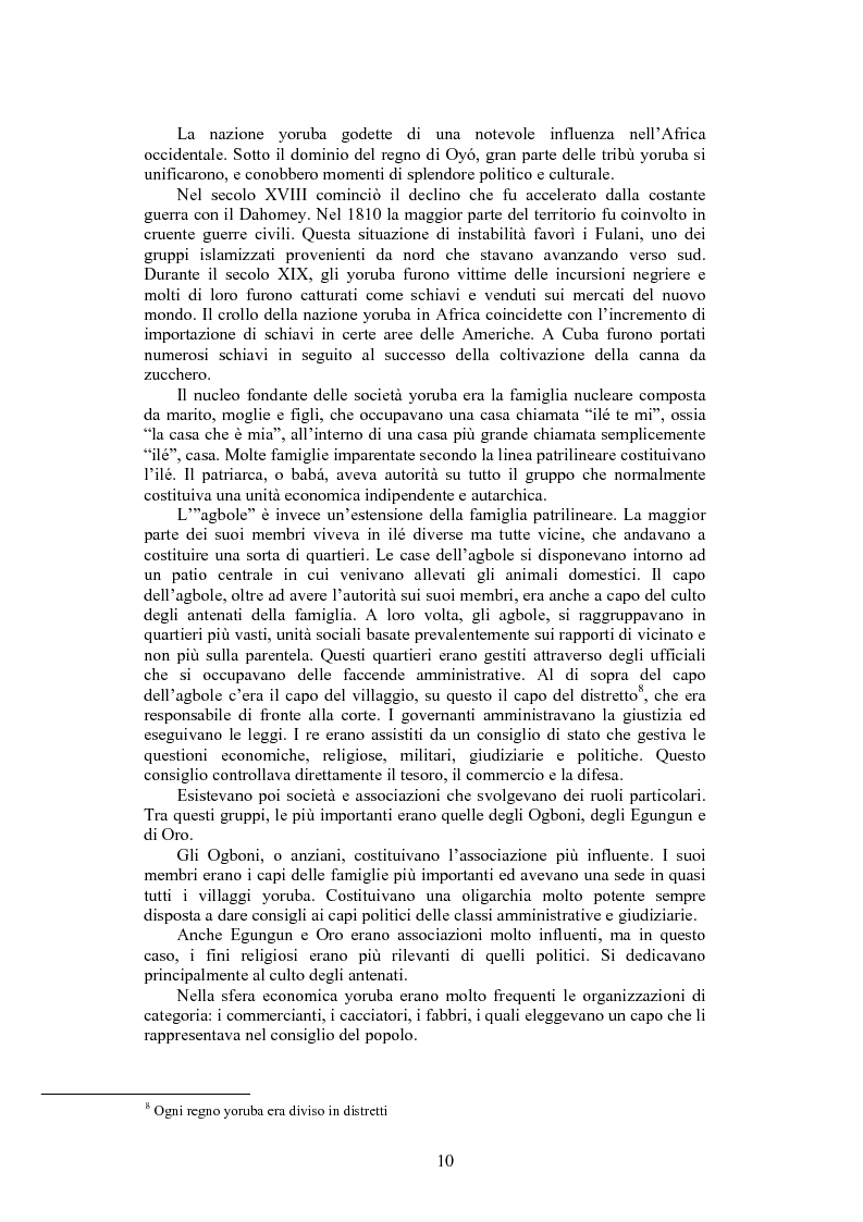 Anteprima della tesi: La santeria. Credenze e pratiche rituali di una religione afrocubana, Pagina 7