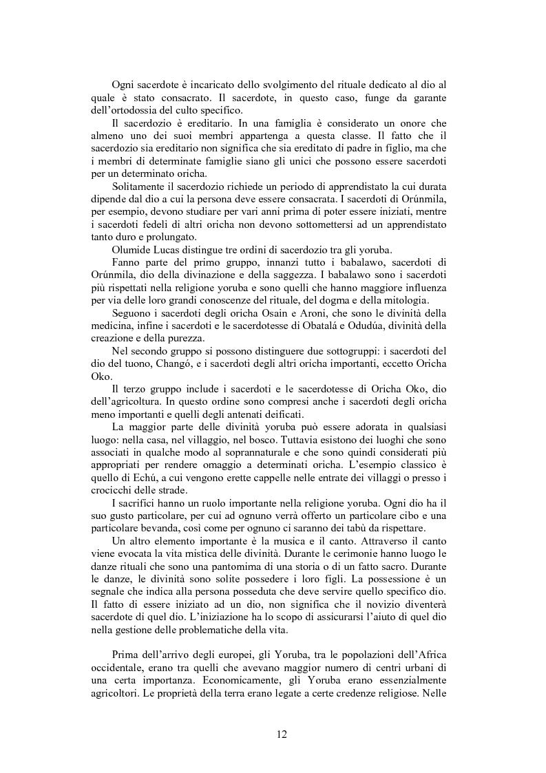 Anteprima della tesi: La santeria. Credenze e pratiche rituali di una religione afrocubana, Pagina 9
