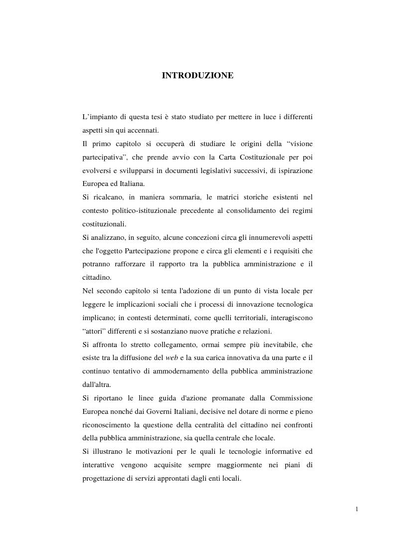 Anteprima della tesi: Pubblica amministrazione e partecipazione. Quale amministrazione e per quale partecipazione., Pagina 1