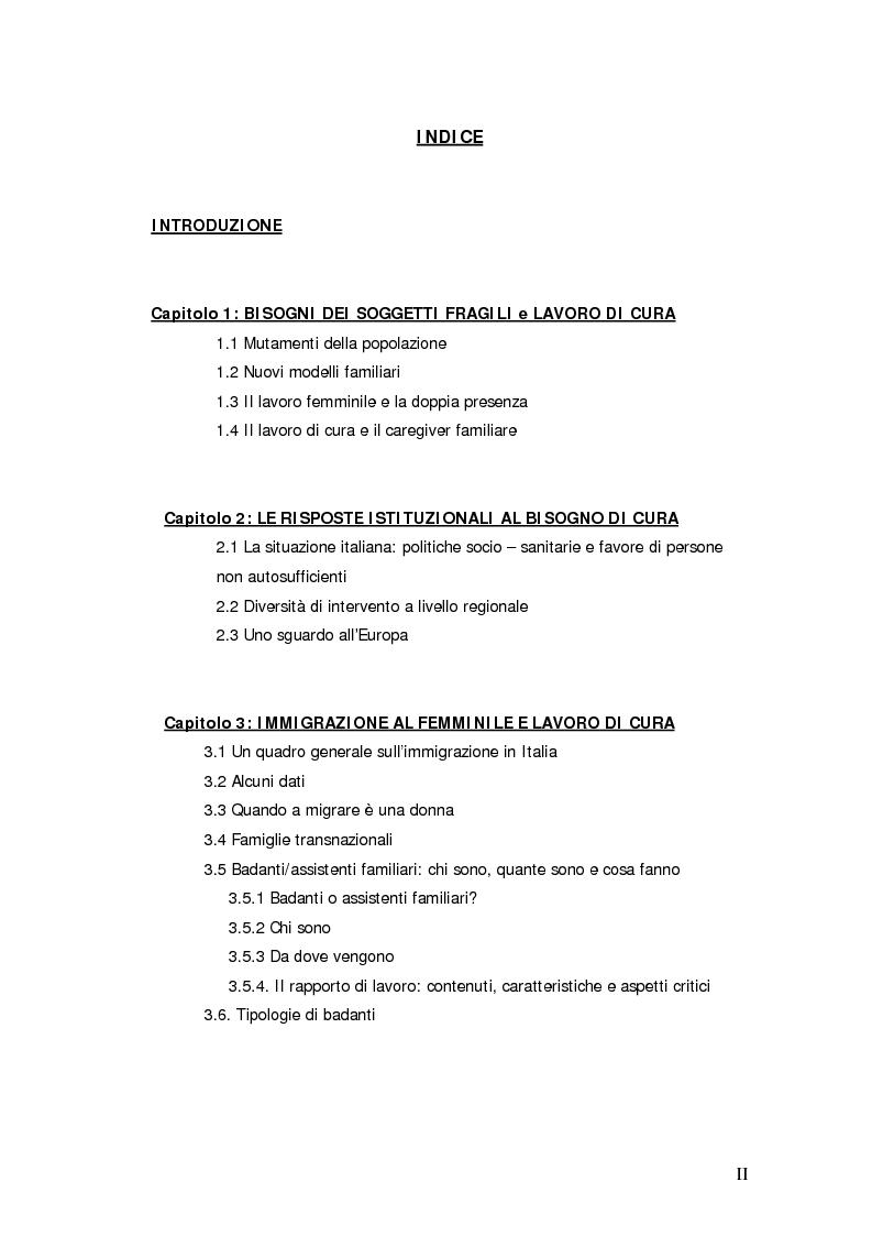 Indice della tesi: Lavoro di cura domiciliare e immigrazione femminile: quali prospettive di politica sociale?, Pagina 1