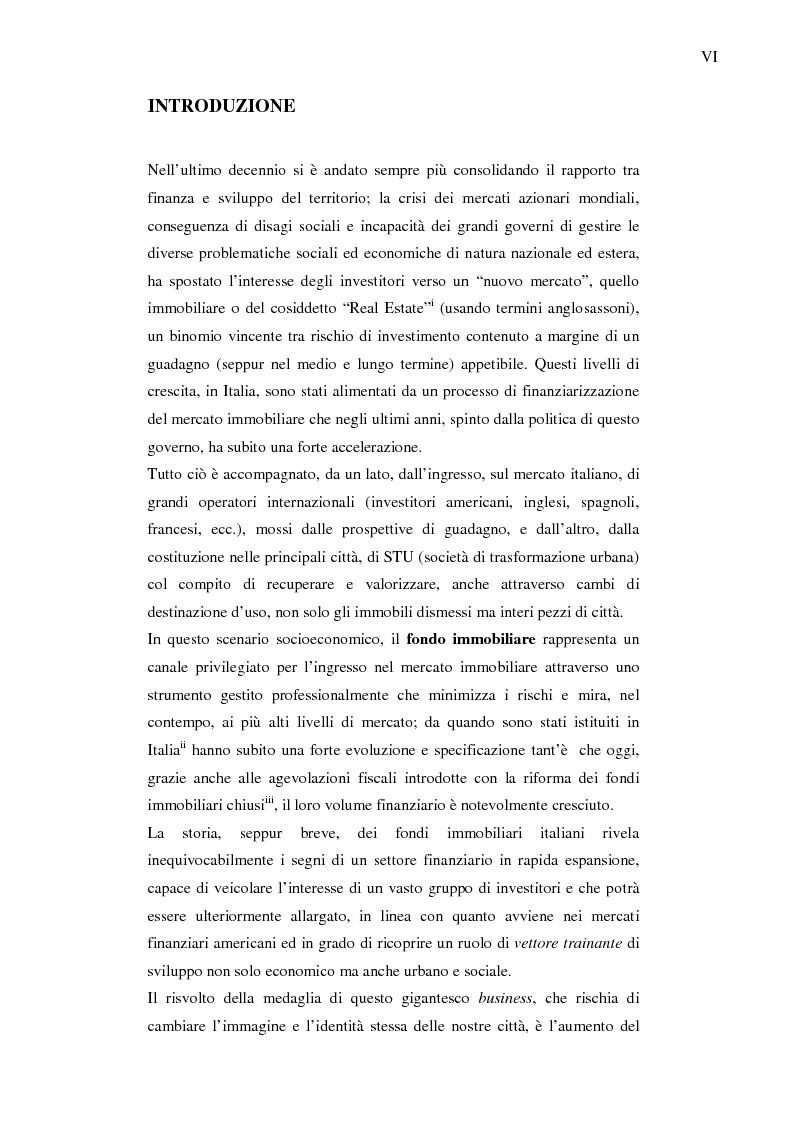 Fondo immobiliare: possibile leva finanziaria per il rilancio del ''Social Housing'' - Tesi di Laurea