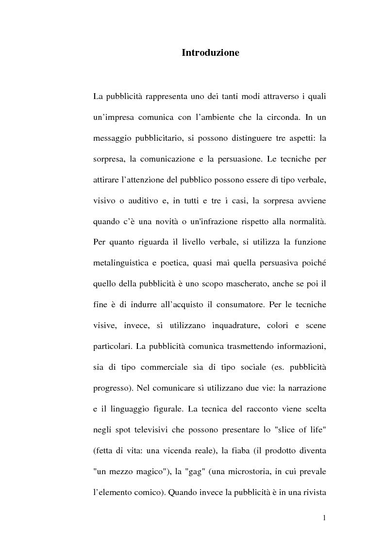 Anteprima della tesi: Il ruolo della donna nella pubblicità, Pagina 1