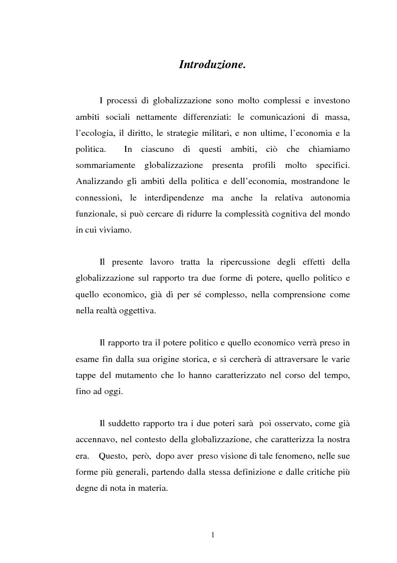 Anteprima della tesi: Il rapporto tra potere politico e potere economico nella società globale, Pagina 1