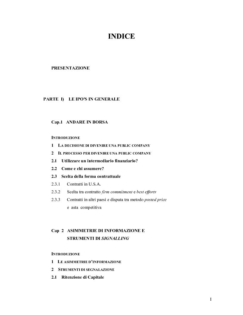 Indice della tesi: Modelli teorici e analisi empiriche sulle Ipo: il caso italiano, Pagina 1