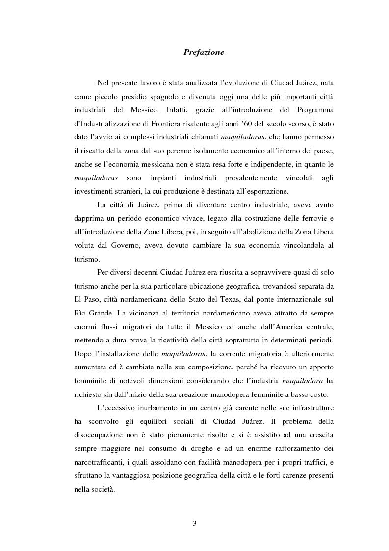Anteprima della tesi: Ciudad Juárez: maquila, lavoro femminile e violenza negli ultimi decenni, Pagina 1