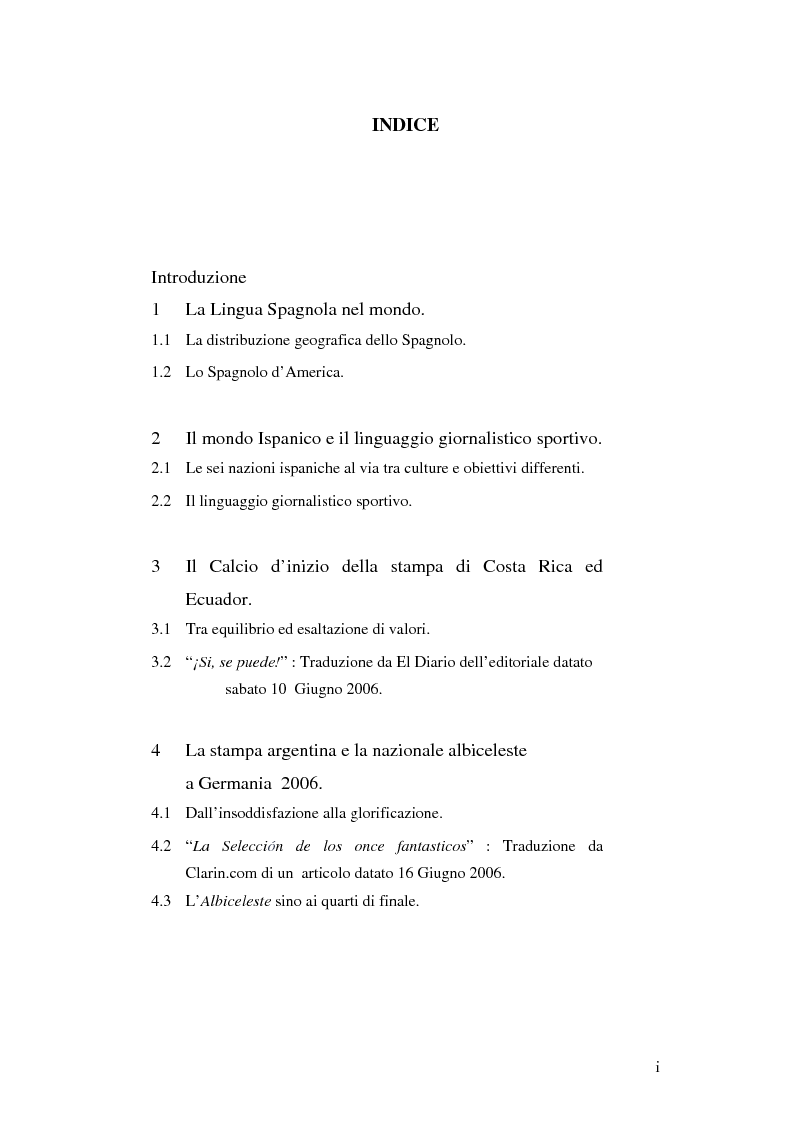 Indice della tesi: L'uso del Linguaggio Sportivo nel giornalismo ispanico. ''Analisi della stampa di lingua spagnola durante il mondiale di calcio 2006''., Pagina 1