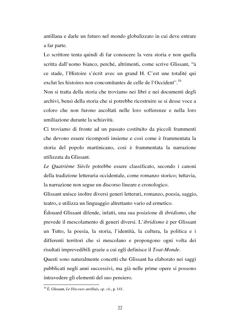 Estratto dalla tesi: La ricostruzione della memoria nel romanzo di Edouard Glissant: Le Quatrième Siècle
