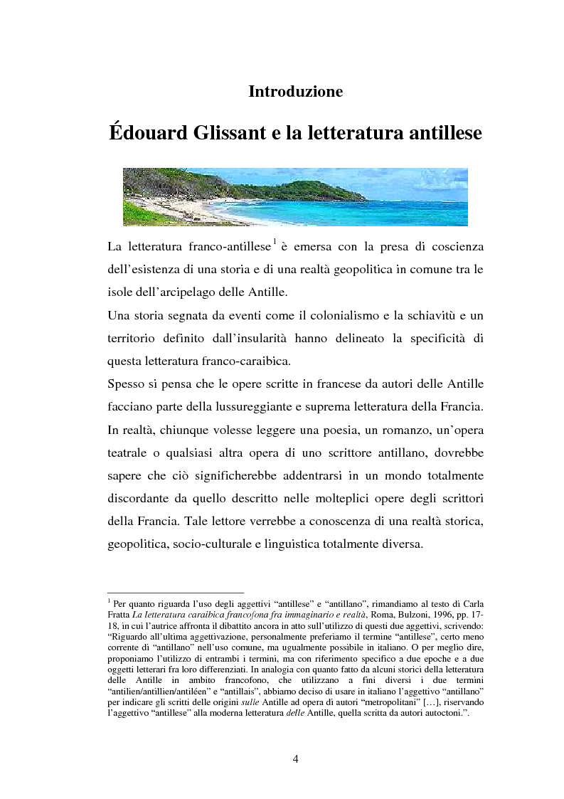 Anteprima della tesi: La ricostruzione della memoria nel romanzo di Edouard Glissant: Le Quatrième Siècle, Pagina 1