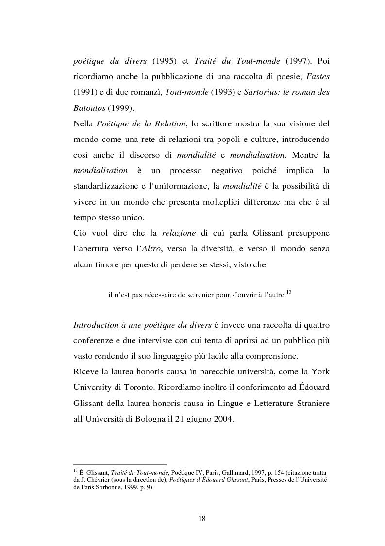 Anteprima della tesi: La ricostruzione della memoria nel romanzo di Edouard Glissant: Le Quatrième Siècle, Pagina 15