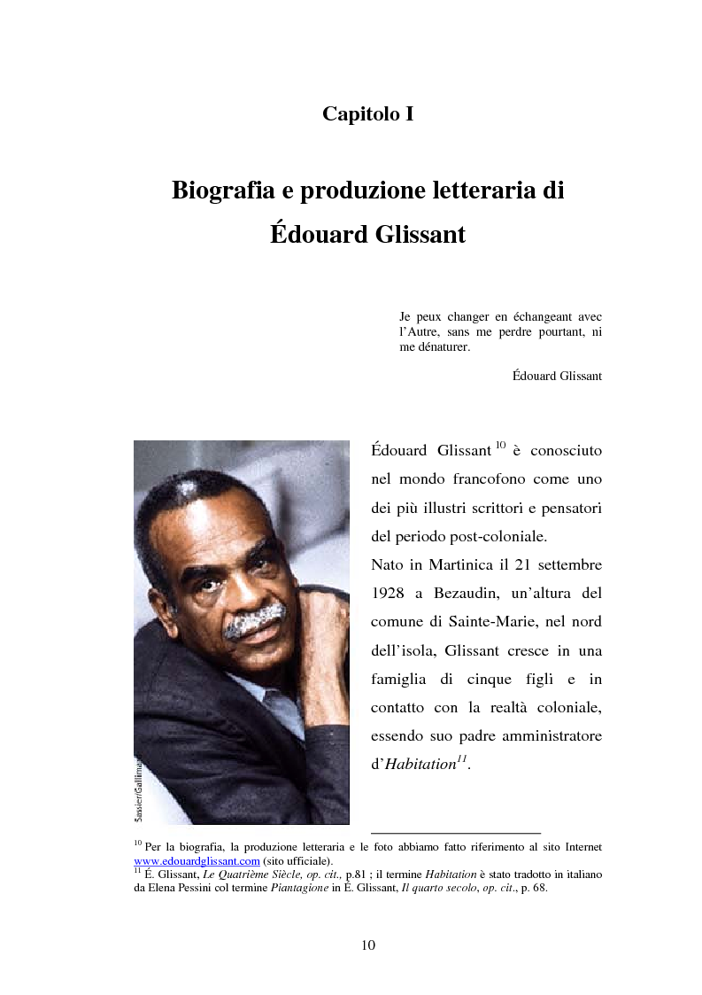 Anteprima della tesi: La ricostruzione della memoria nel romanzo di Edouard Glissant: Le Quatrième Siècle, Pagina 7