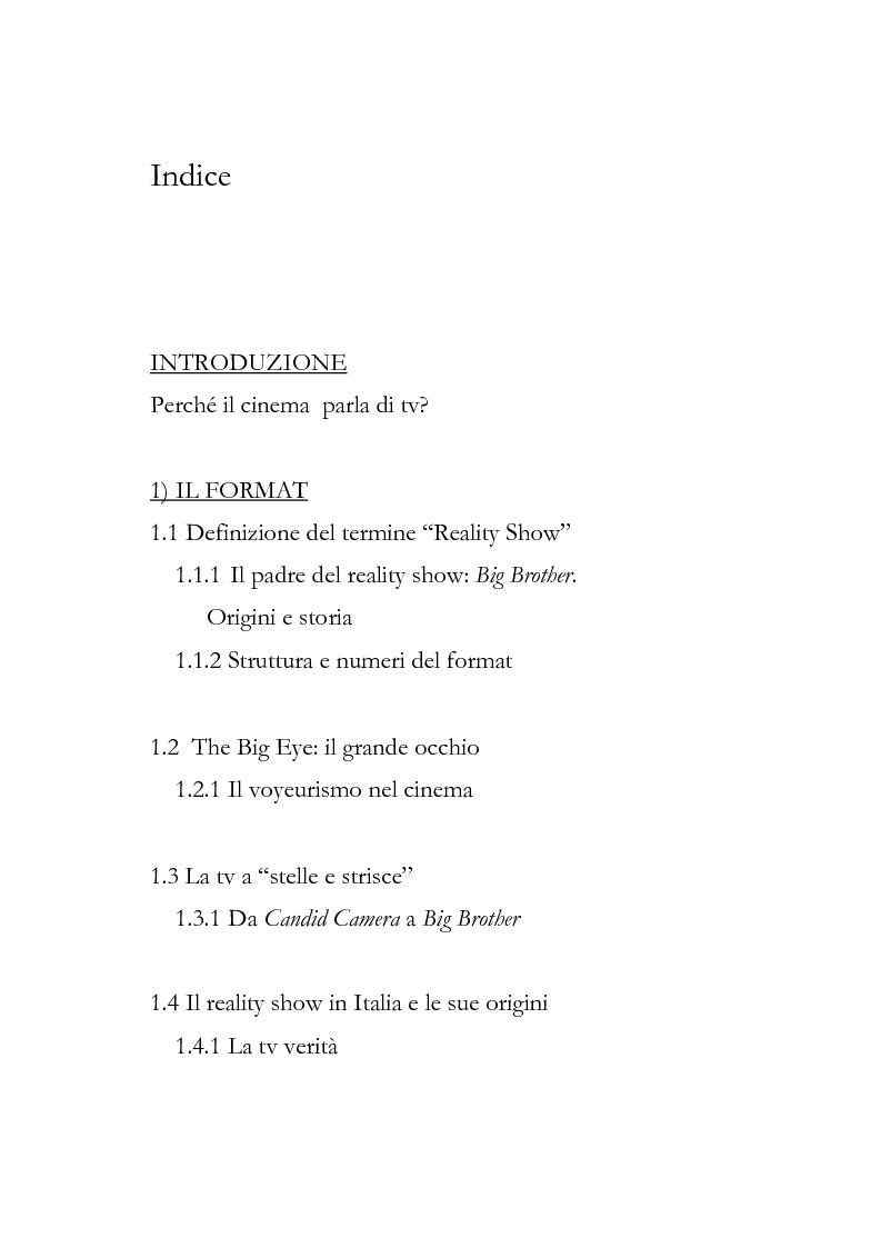 Indice della tesi: Human show. Il reality televisivo nel cinema americano, Pagina 1