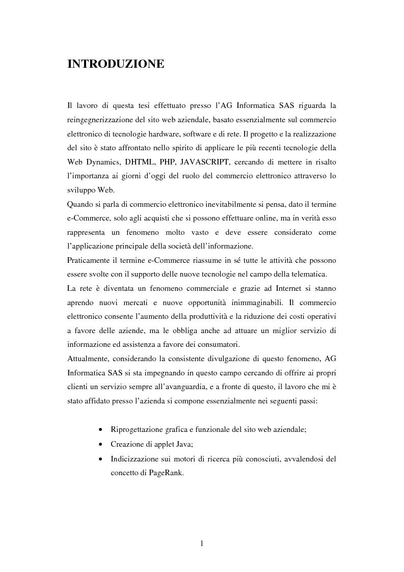 Reingegnerizzazione di un sito web di commercio elettronico - Tesi di Laurea