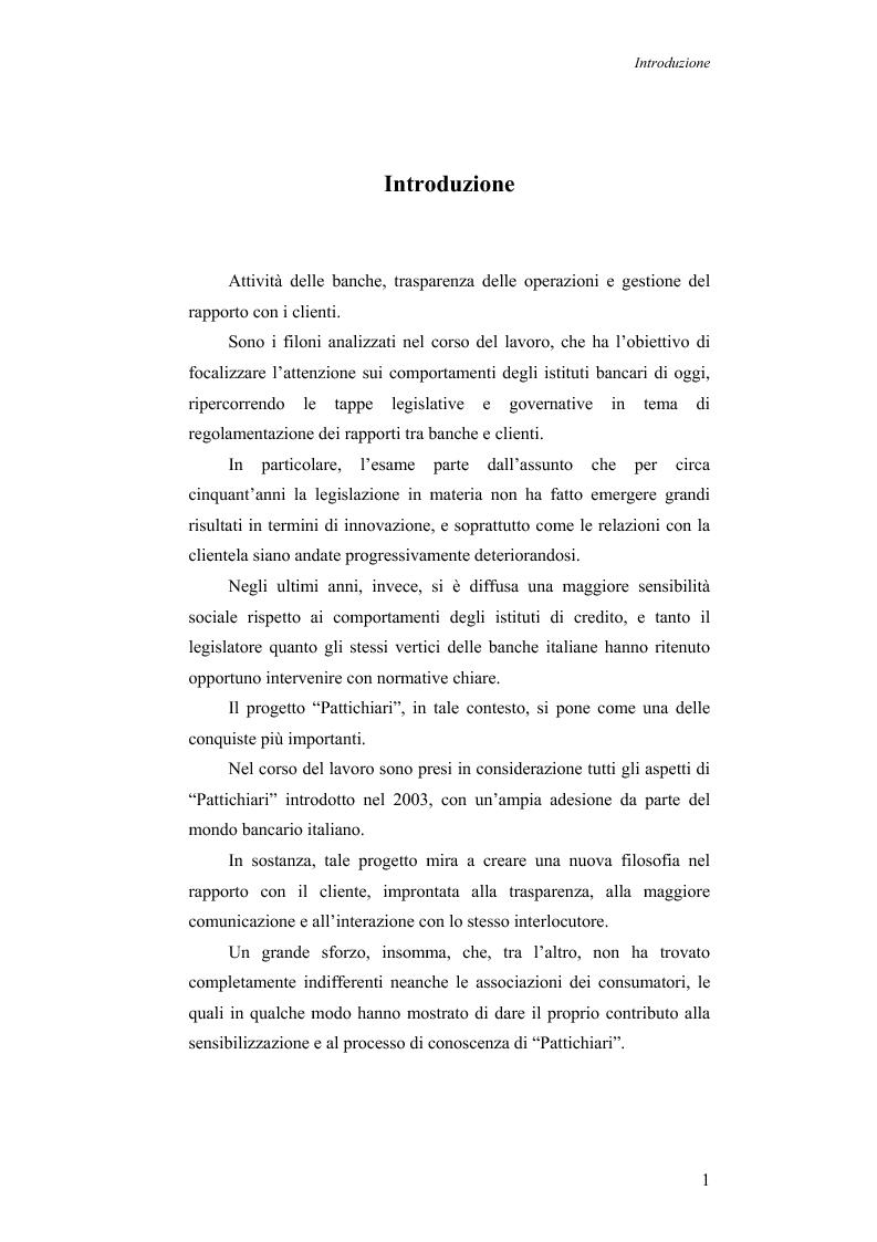 Anteprima della tesi: Aspetti evolutivi della relazione banca cliente, Pagina 1