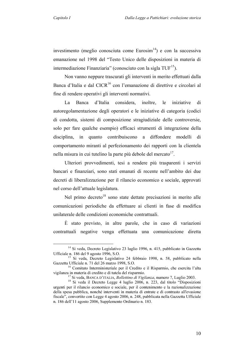 Anteprima della tesi: Aspetti evolutivi della relazione banca cliente, Pagina 10
