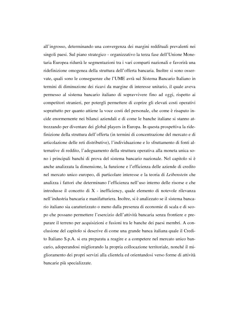 Anteprima della tesi: L'evoluzione del sistema bancario dal Mercato Unico all'Unione Monetaria Europea con l'introduzione dell'euro in Italia, Pagina 11