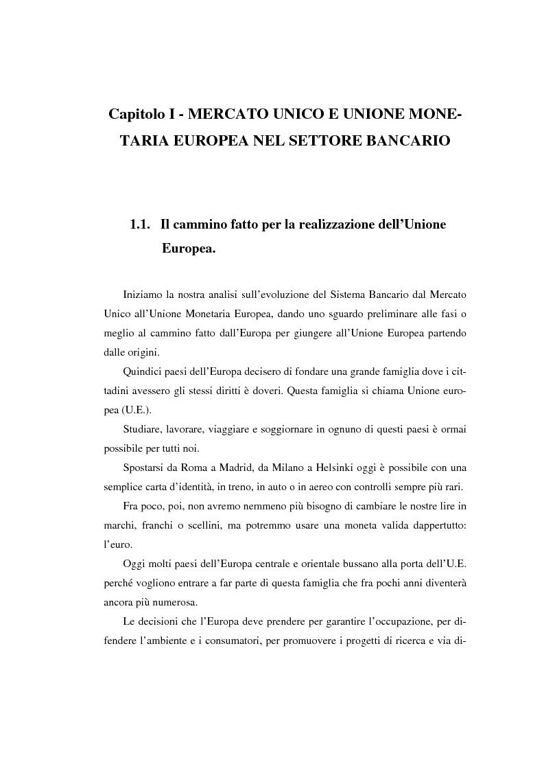 Anteprima della tesi: L'evoluzione del sistema bancario dal Mercato Unico all'Unione Monetaria Europea con l'introduzione dell'euro in Italia, Pagina 14