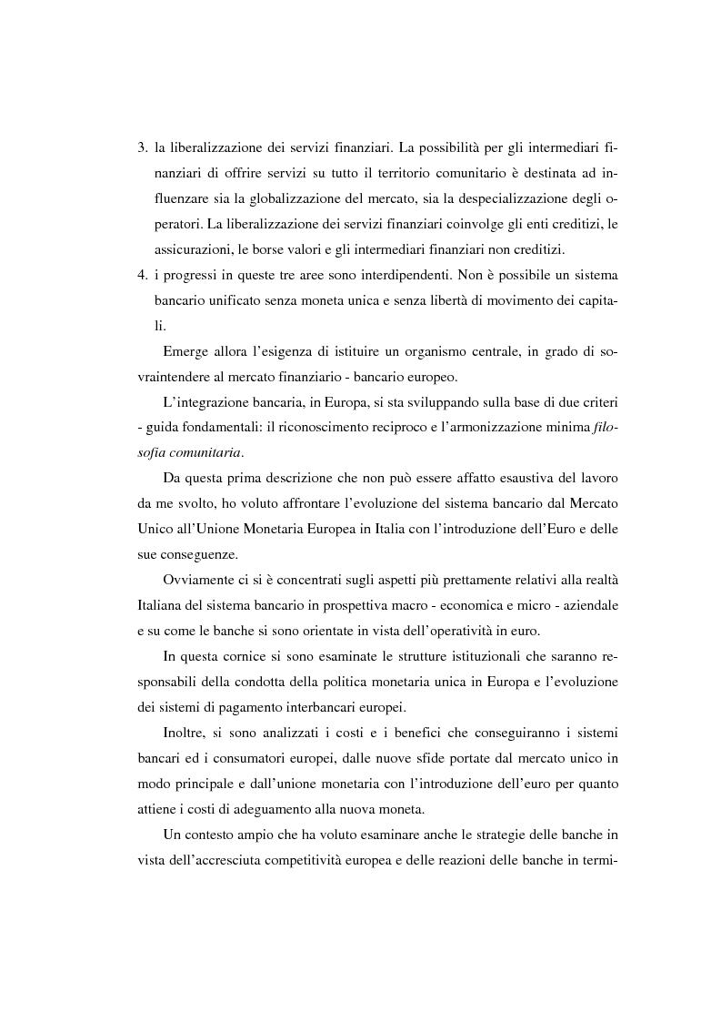 Anteprima della tesi: L'evoluzione del sistema bancario dal Mercato Unico all'Unione Monetaria Europea con l'introduzione dell'euro in Italia, Pagina 6