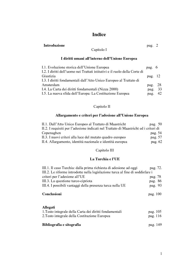 Indice della tesi: Allargamento e diritti umani nell'Unione Europea, Pagina 1