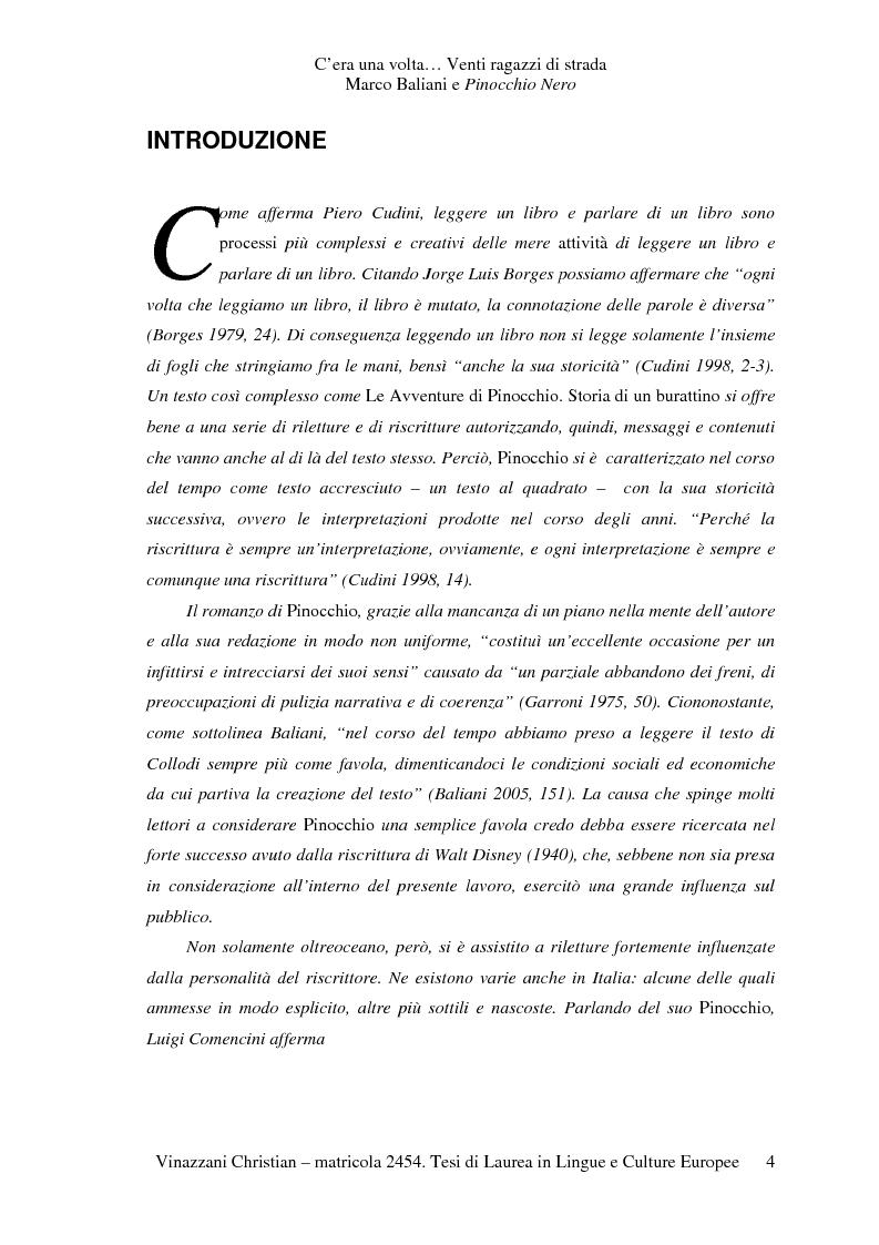 Anteprima della tesi: C'era una volta... Venti ragazzi di strada. Marco Baliani e Pinocchio Nero, Pagina 1