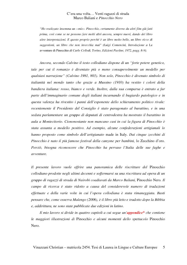 Anteprima della tesi: C'era una volta... Venti ragazzi di strada. Marco Baliani e Pinocchio Nero, Pagina 2