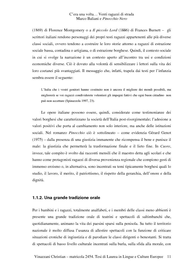 Anteprima della tesi: C'era una volta... Venti ragazzi di strada. Marco Baliani e Pinocchio Nero, Pagina 8