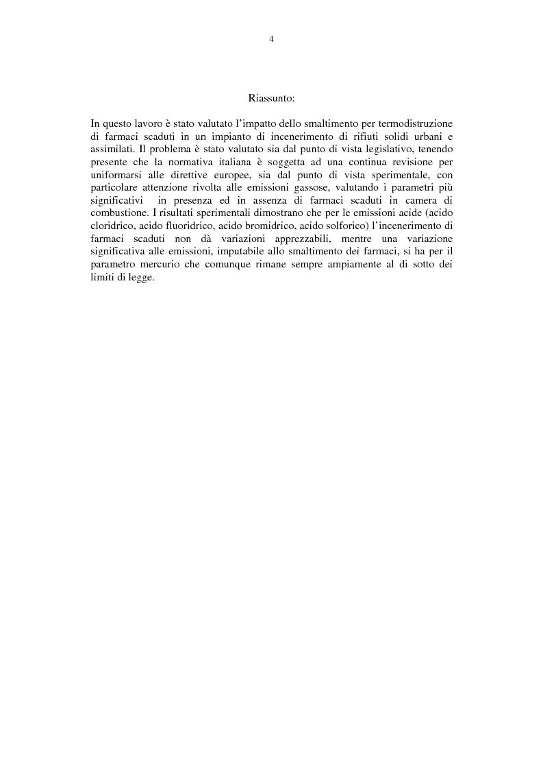 Anteprima della tesi: Lo smaltimento dei farmaci scaduti per termodistruzione, Pagina 1