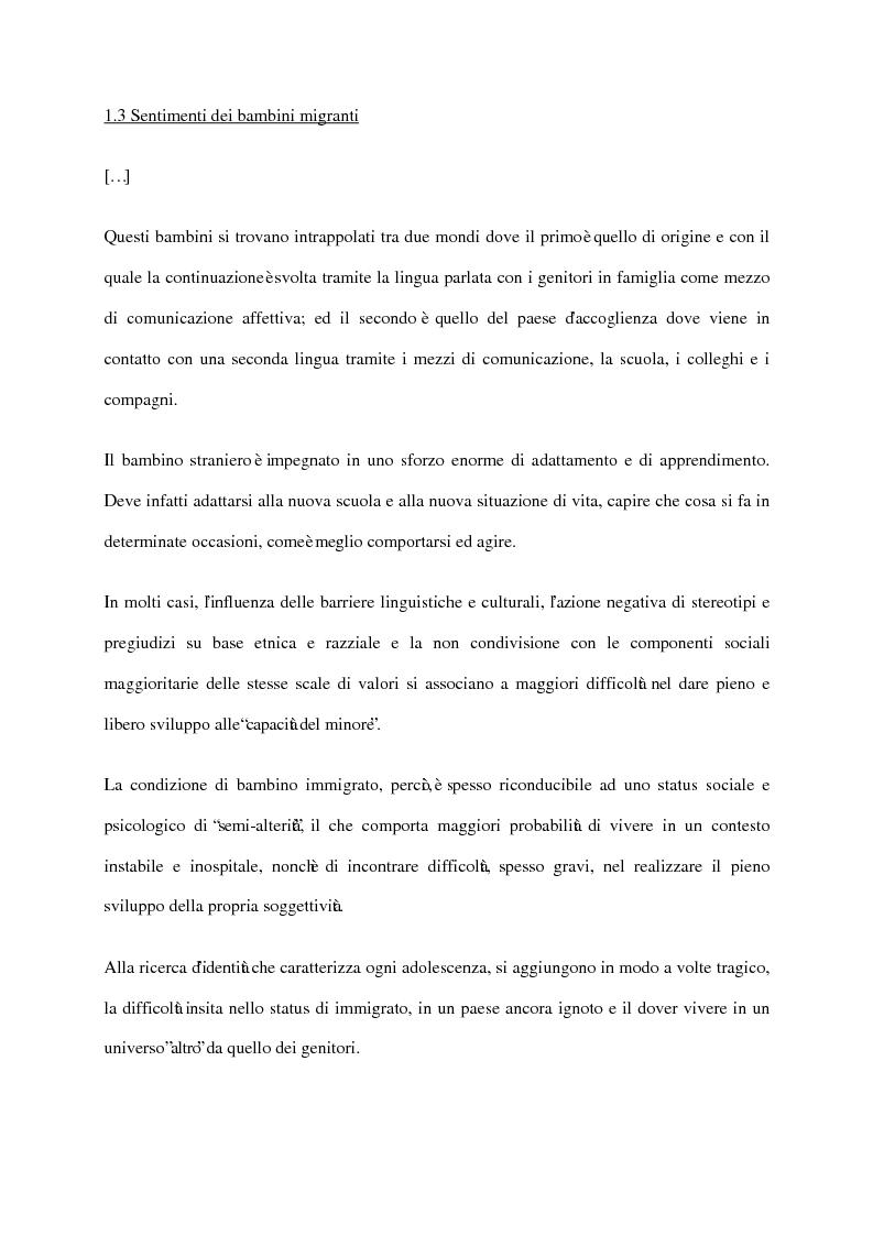 Anteprima della tesi: L'integrazione dei minori stranieri in Italia, Pagina 1