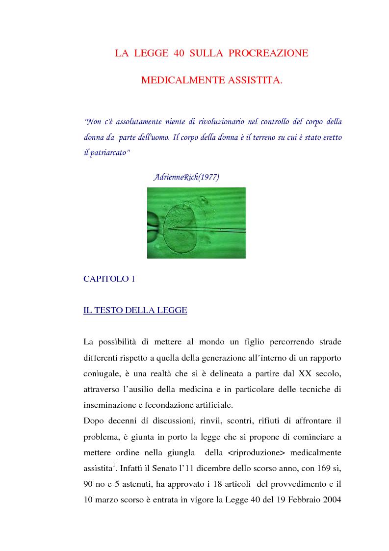 La legge 40 sulla procreazione medicalmente assistita - Tesi di Laurea