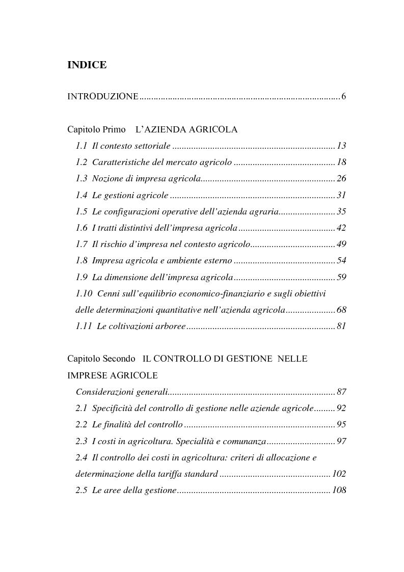 Indice della tesi: La misurazione delle performance in agricoltura: aspetti di programmazione e controllo nelle aziende agricole, Pagina 1