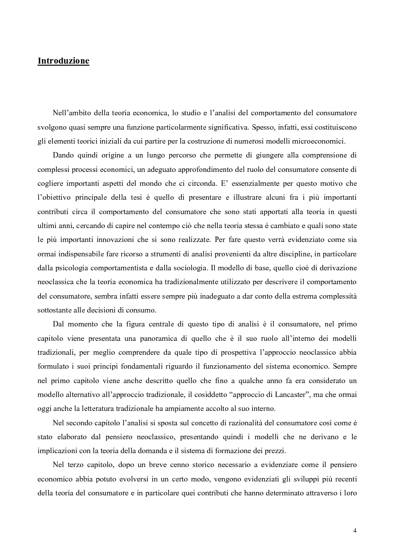 La teoria economica del comportamento del consumatore: nuovi sviluppi - Tesi di Laurea