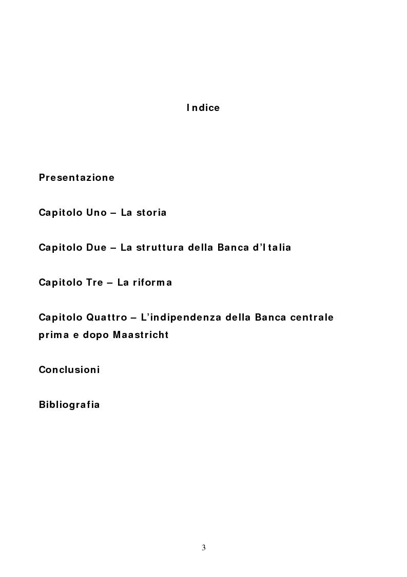 Indice della tesi: La Banca d'Italia: struttura e indipendenza, Pagina 1