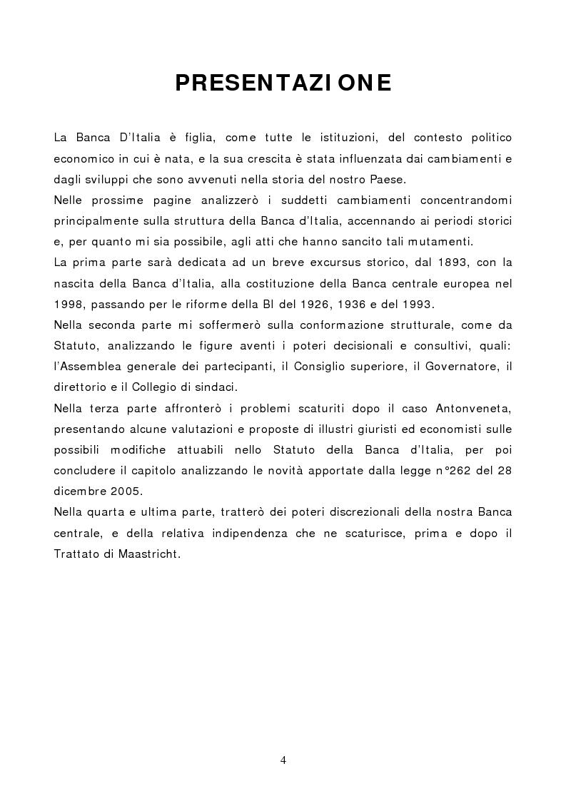 Anteprima della tesi: La Banca d'Italia: struttura e indipendenza, Pagina 1