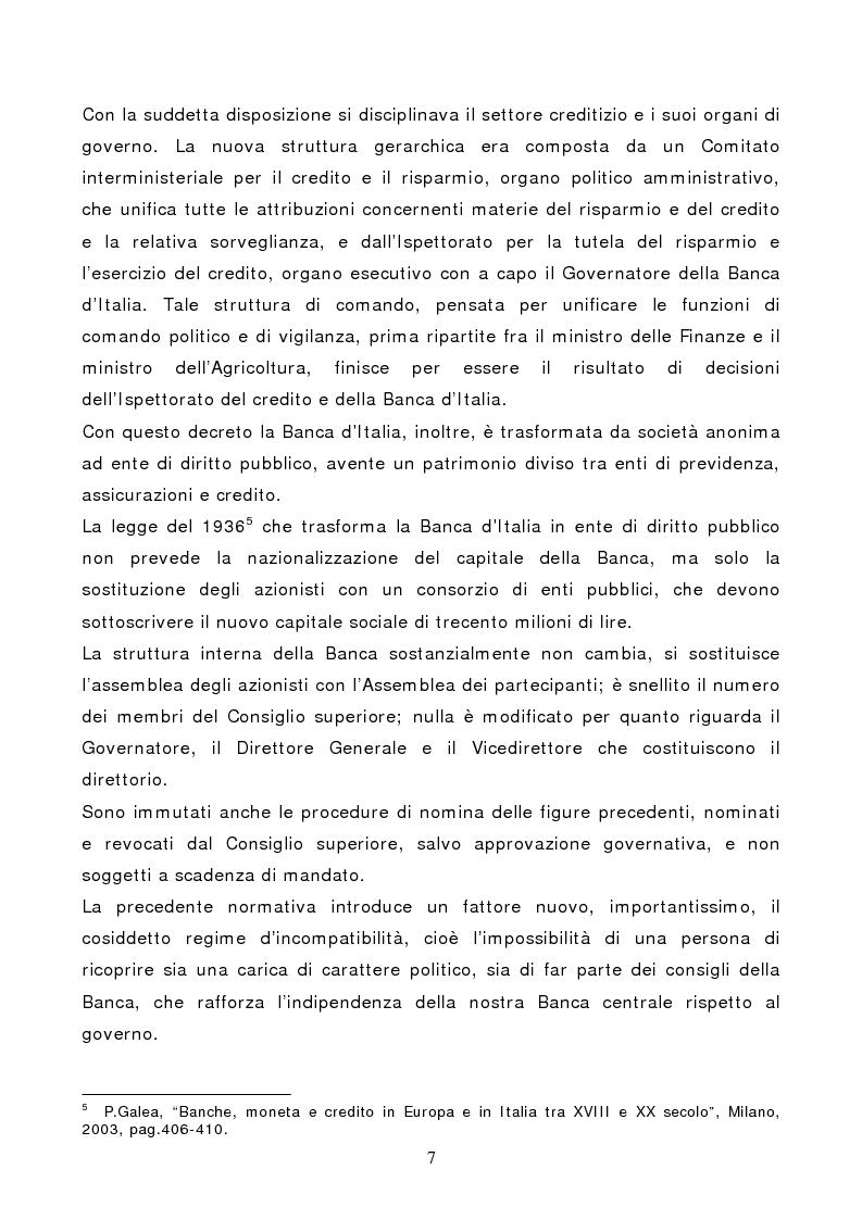 Anteprima della tesi: La Banca d'Italia: struttura e indipendenza, Pagina 4