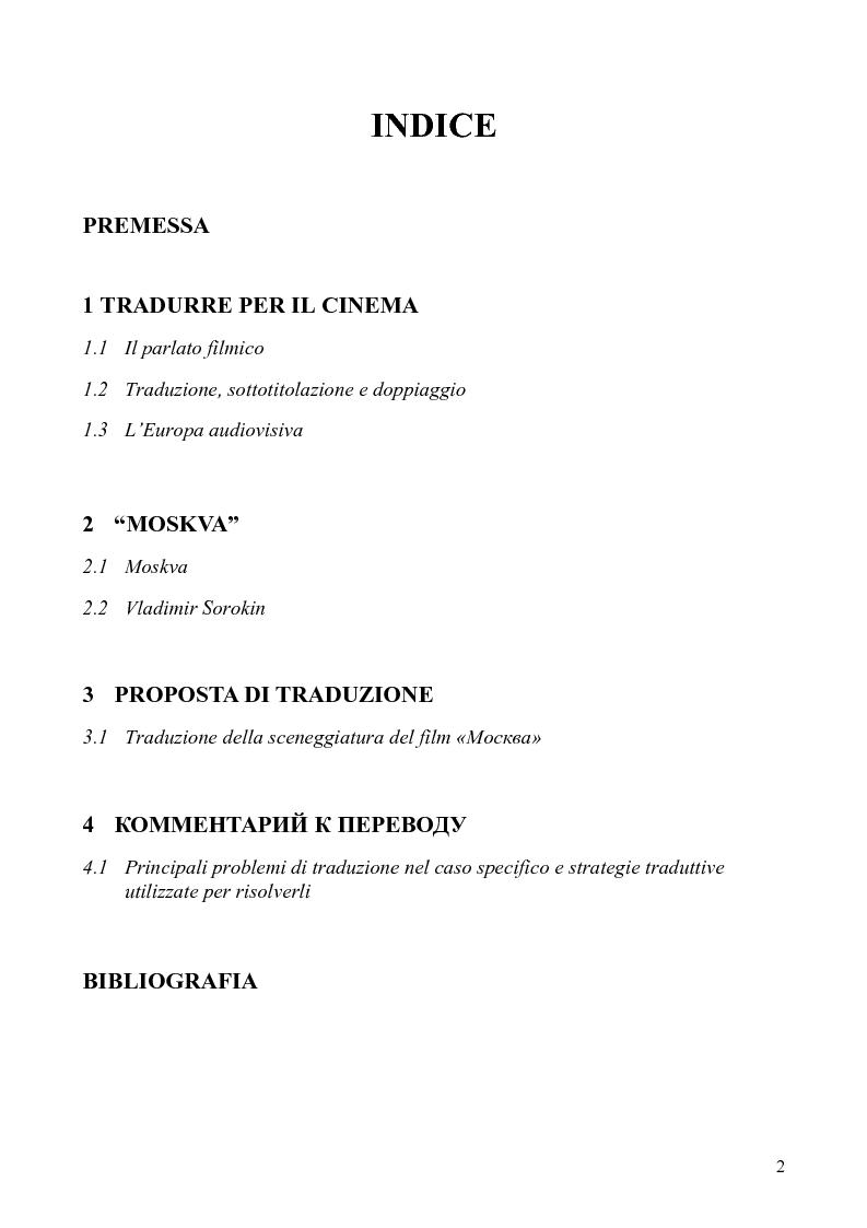 Indice della tesi: Tradurre per il cinema: Moskva di V. Sorokin, Pagina 1