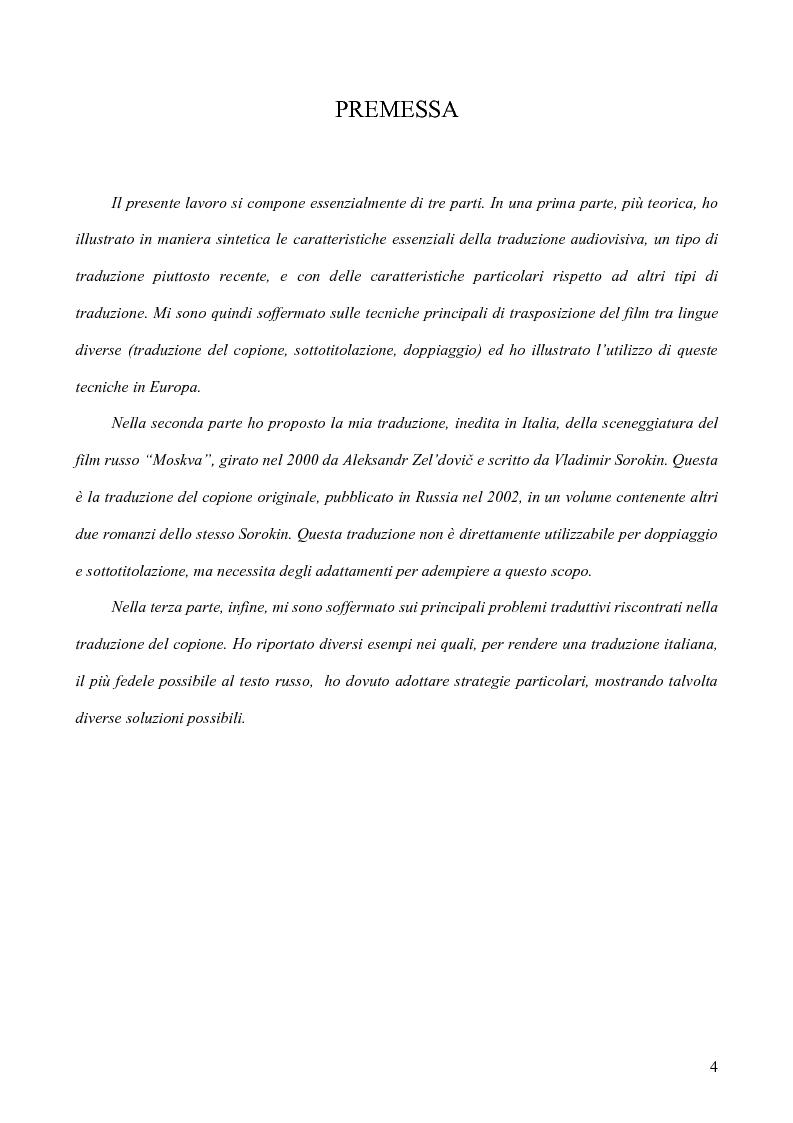 Anteprima della tesi: Tradurre per il cinema: Moskva di V. Sorokin, Pagina 1