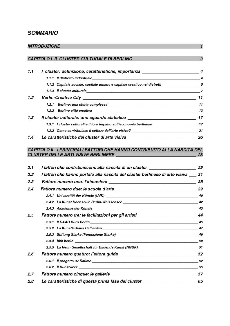 Indice della tesi: Il cluster di arte visiva contemporanea a Berlino, Pagina 1