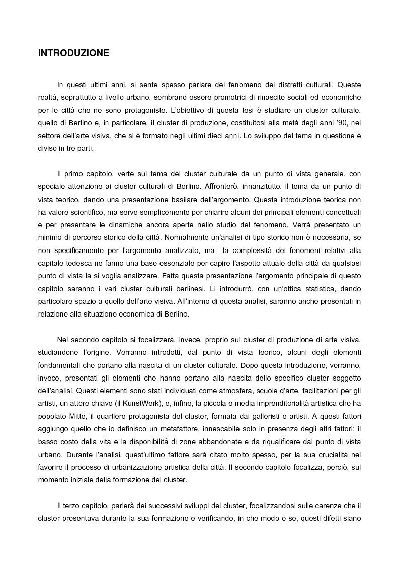 Anteprima della tesi: Il cluster di arte visiva contemporanea a Berlino, Pagina 1