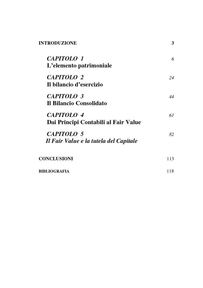 Indice della tesi: Fair value e tutela del capitale, Pagina 1