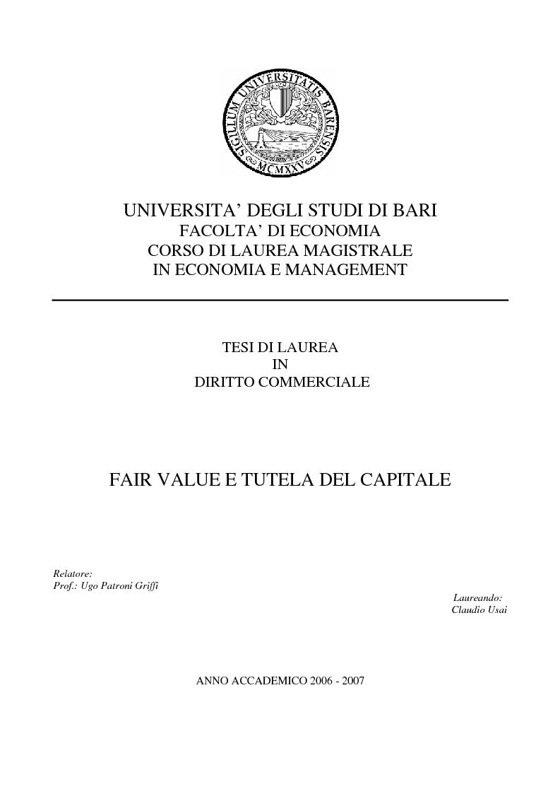 Anteprima della tesi: Fair value e tutela del capitale, Pagina 1